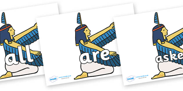 Tricky Words on Egyptian - Tricky words, DfES Letters and Sounds, Letters and sounds, display, words