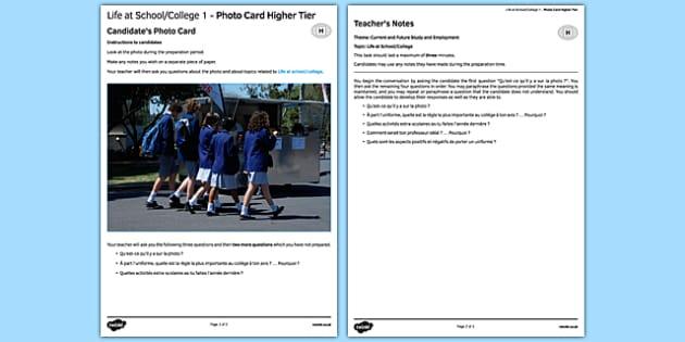 La vie au collège 1  Carte photo Higher Tier - french, france, francais, gcse, practice, Photo, Picture, Card, Foundation, Education, School, College