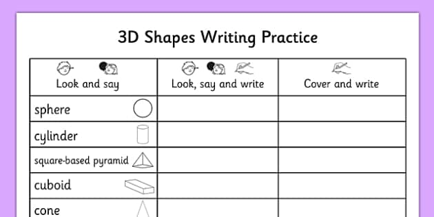 3D Shapes Writing Practice Worksheet - 3d shapes, writing, practice, worksheet, 3d, shape