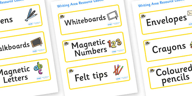 Bumble Bee Themed Editable Writing Area Resource Labels - Themed writing resource labels, literacy area labels, writing area resources, Label template, Resource Label, Name Labels, Editable Labels, Drawer Labels, KS1 Labels, Foundation Labels, Founda