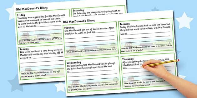 On The Farm Diary Writing Template - on the farm, farm, on the farm diary, on the farm diary template, old macdonalds diary, old macdonalds diary templates