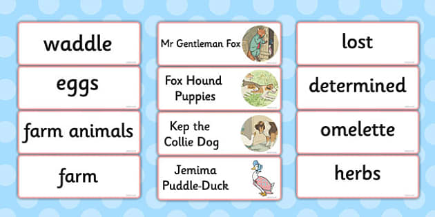 The Tale of Jemima Puddle-Duck Word Cards - jemima puddle-duck
