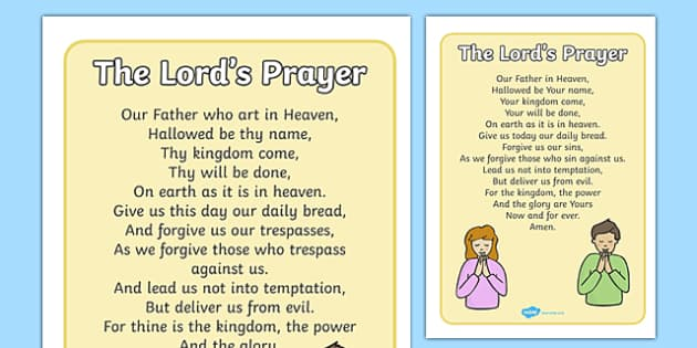 The Lord's Prayer Display Posters - Church, Christian, Lord's prayer, prayer, God Jesus, display banner, sign, posters, minister, Vicar, bible, bells, organ, Sunday, cross