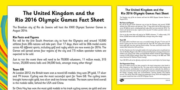 Rio 2016 and Team GB Fact Sheet - Rio, Olympics, 2016, Team GB, United Kingdom, medals, Olympians, Great Britain
