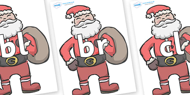 Initial Letter Blends on Santas - Initial Letters, initial letter, letter blend, letter blends, consonant, consonants, digraph, trigraph, literacy, alphabet, letters, foundation stage literacy