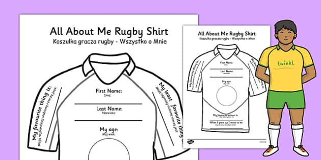All About Me Rugby Shirt Worksheet Polish Translation - polish