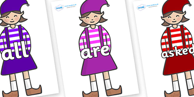 Tricky Words on Elf (Girl) - Tricky words, DfES Letters and Sounds, Letters and sounds, display, words
