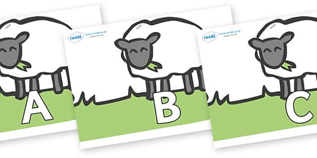 A-Z Alphabet on Sheep to Support Teaching on Pig in the Pond - A-Z, A4, display, Alphabet frieze, Display letters, Letter posters, A-Z letters, Alphabet flashcards