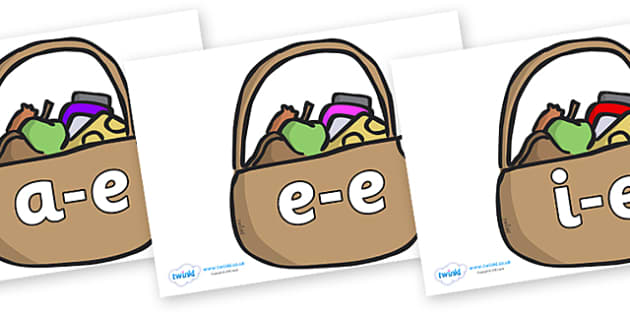 Modifying E Letters on Baskets - Modifying E, letters, modify, Phase 5, Phase five, alternative spellings for phonemes, DfES letters and Sounds