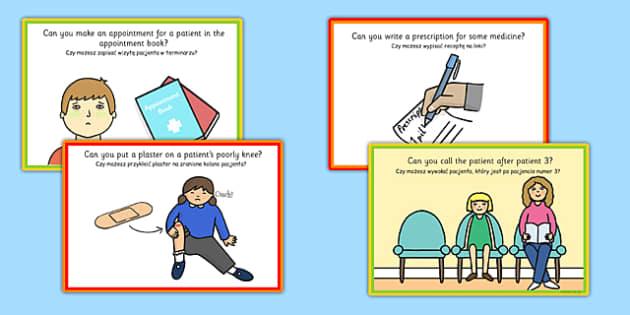 Challenge Cards Doctors Surgery Polish Translation - polish, challenge, cards, doctors, surgery