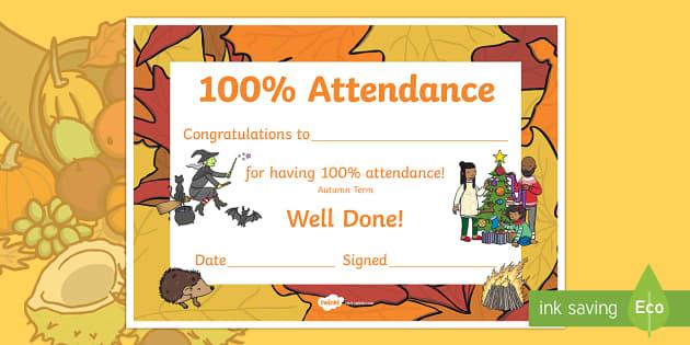 Autumn Term Themed 100% Attendance Certificate - Certificates, awards, attendance, 100% attendance