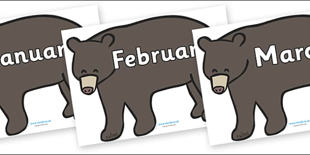 Months of the Year on Grizzly Bears - Months of the Year, Months poster, Months display, display, poster, frieze, Months, month, January, February, March, April, May, June, July, August, September