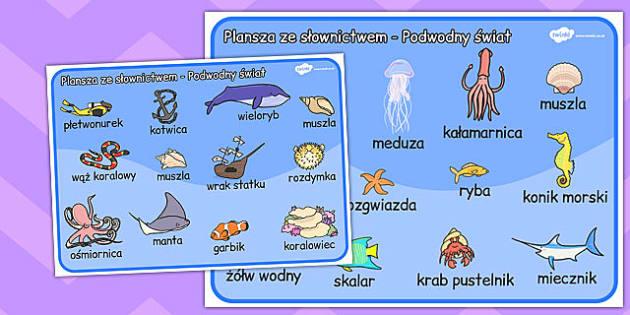 Plansza ze slownictwem Swiat podwony po polsku - edukacyjne , Polish