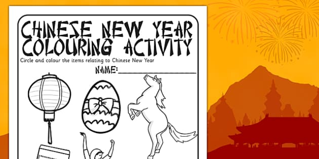 Chinese New Year Colouring Activity - chinese new year, colour