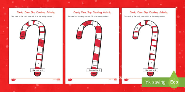Candy Cane Skip Counting Math Activity Sheet