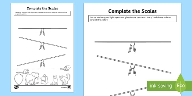 Complete the Scale Activity Sheet - Measurement, measuring, heavy or light, balance scales, weight, worksheet