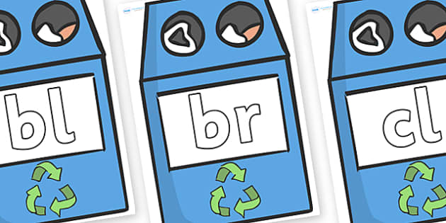 Initial Letter Blends on Eco Bins - Initial Letters, initial letter, letter blend, letter blends, consonant, consonants, digraph, trigraph, literacy, alphabet, letters, foundation stage literacy
