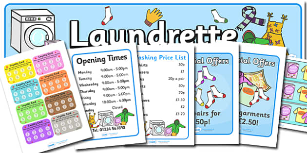 Laundrette Role Play Pack -  washing, laundrette, role play, pack, washing machine, display, banner, sign, poster, wash, washing powder, clothes, socks, T-shirt, trousers