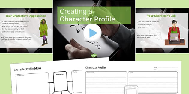 Creating a Character Profile PowerPoint Pack - creating, character, profile, pack