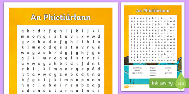 An Phictiúrlann Differentiated Word Search-Irish