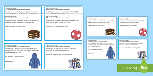 Profit and Loss Challenge Cards - CfE Numeracy and Mathematics, money, profit, loss, 2nd level, addition, subtraction, challenge, acti