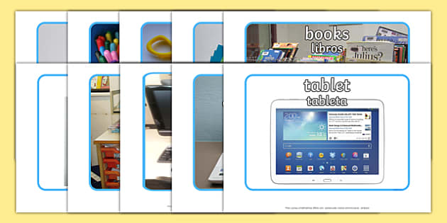 School Objects Photo Pack Spanish Translation-translation