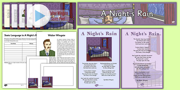 Scots Poetry Resource Pack A Night's Rain by Walter Wingate - CfE, Literacy, Scots Poetry, poetry