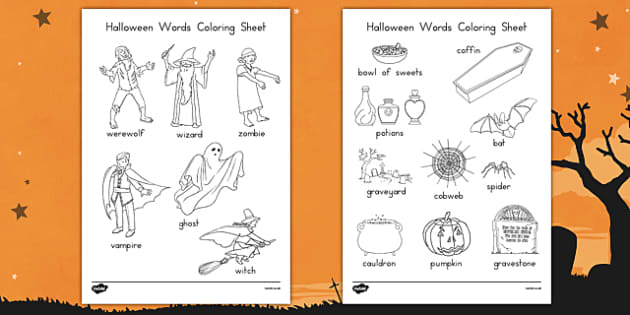 Halloween Words Coloring Worksheet - america, halloween, words, coloring