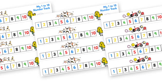 The Olympics Number Track (1-10) - Olympics, Olympic Games, sports, Olympic, London, 2012, Maths, Math, number track, toys, numbertrack, Counting, Numberline, Number line, Counting on, Counting back, activity, Olympic torch, flag, countries, medal, O