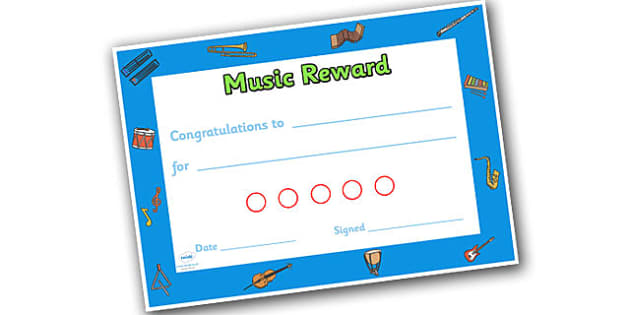Music Themed Sticker Reward Certificate 15mm - music, reward certificate, sticker reward certificate, sticker certificate, music reward certificate, 15mm
