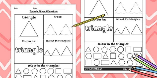 Triangle Shape Worksheet - shapes, 2D shapes, tracing, numeracy