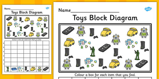 Toys Block Diagram Activity Worksheet - graph, activity, toys, bar