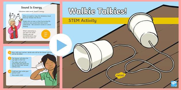Walkie Talkies STEM PowerPoint - Make a Noise!, sound, science, bang, crash, boom, STEM, KS1, KS2, experiment