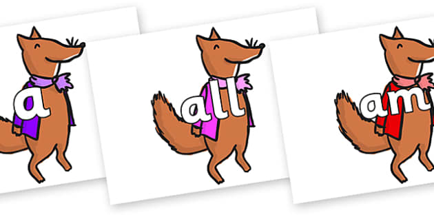 Foundation Stage 2 Keywords on Small Fox 1 to Support Teaching on Fantastic Mr Fox - FS2, CLL, keywords, Communication language and literacy,  Display, Key words, high frequency words, foundation stage literacy, DfES Letters and Sounds, Letters and S