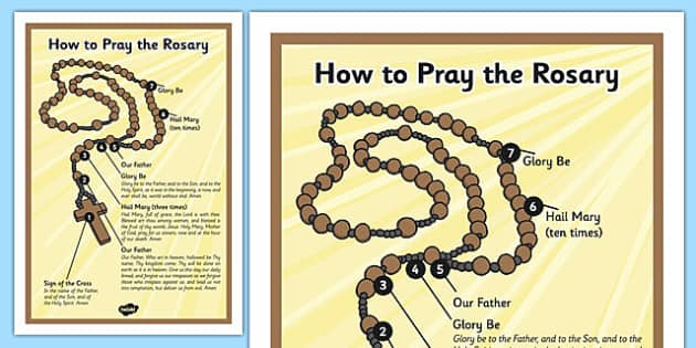How To Pray The Rosary Poster - how to pray, the rosary, poster, display, christianity, prayer