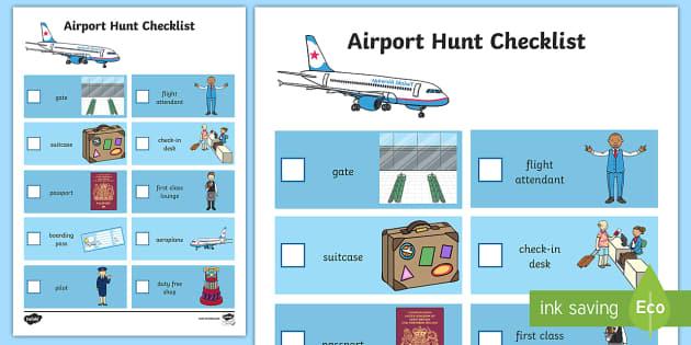 Airport Hunt Checklist - airport, hunt, checklist, check, list