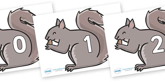 Numbers 0-31 on Grey Squirrels - 0-31, foundation stage numeracy, Number recognition, Number flashcards, counting, number frieze, Display numbers, number posters