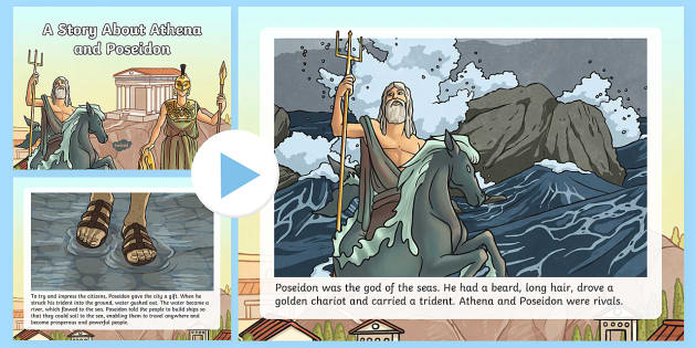 A Story About Athena and Poseidon PowerPoint - Request KS2, Athena, Poseidon, god, Athens, city, protector, sea, olive tree, trident, spear.