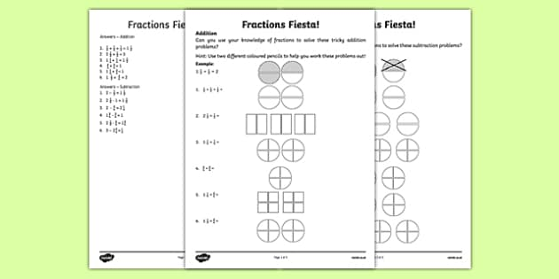 Fractions Fiesta Activity Sheet, worksheet
