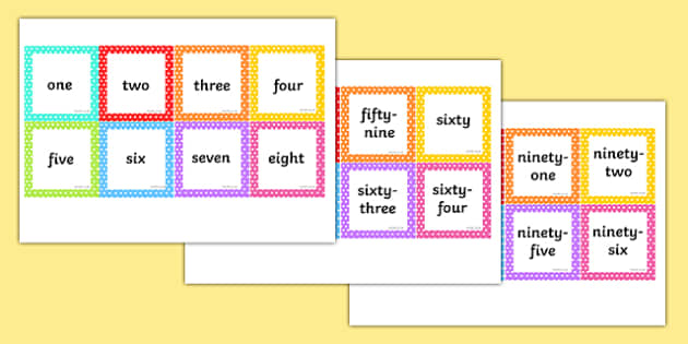 Number Words 1-100 Square Cards - number words, 1-100, square