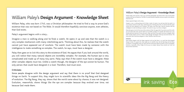 William Paley and the Design Argument Pupil Knowledge Sheet - William Paley, Design Argument, God, RE, religion, KS3, religious studies, year 7, revision