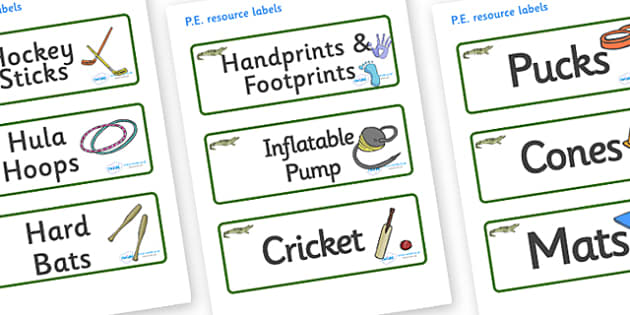 Crocodile Themed Editable PE Resource Labels - Themed PE label, PE equipment, PE, physical education, PE cupboard, PE, physical development, quoits, cones, bats, balls, Resource Label, Editable Labels, KS1 Labels, Foundation Labels, Foundation Stage