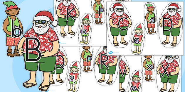 Upper Case to Lower Case Letter Matching Activity Santa and Elves