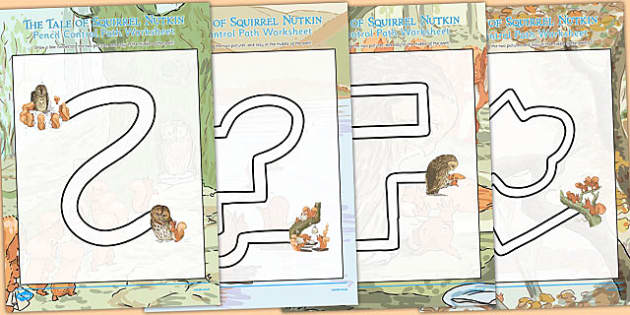 The Tale of Squirrel Nutkin Pencil Control Path Worksheets - squirrel nutkin