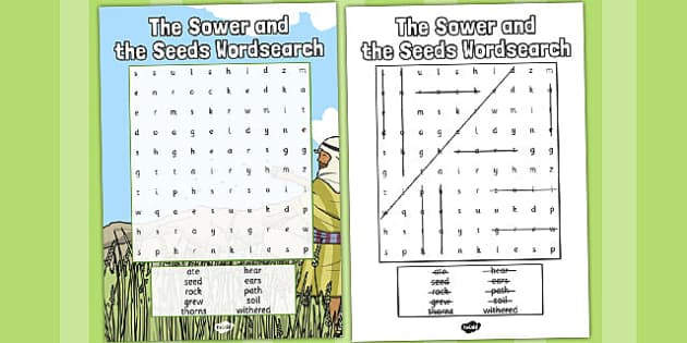The Sower and the Seeds Wordsearch - parables, seeds, wordsearch