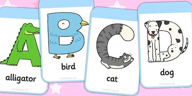 Animal Alphabet Flashcards - animal, alphabet, flashcards, cards