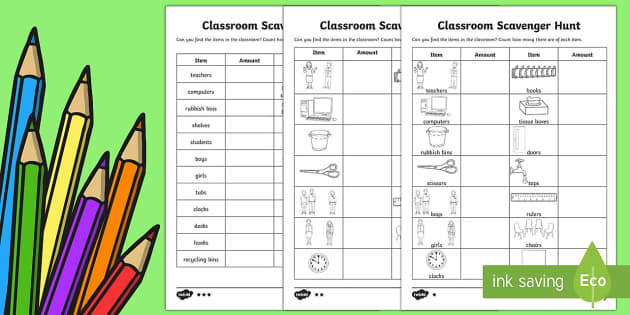 Back to School Classroom Maths Scavenger Hunt - Back to School, scavenger hunt, back to school game, maths game, classroom counting, school equipmen