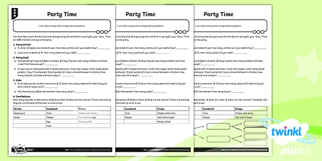 PlanIt Y4 Multiplication and Division Party Time Differentiated Home Learning - Y4 Multiplication and Division Planit Maths, multiply, groups of, lots of, product, times, sets of,