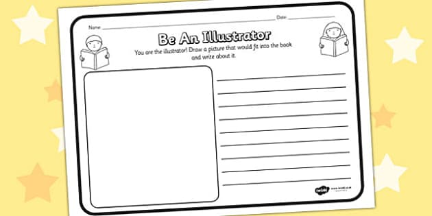 Be An Illustrator Comprehension Worksheet - be an illustrator, comprehension, comprehension worksheet, character, discussion prompt, reading, drawing