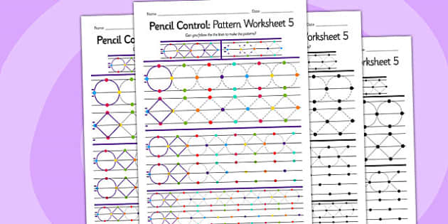 Pencil Control Pattern Worksheet 5 - fine motor skills, pattern